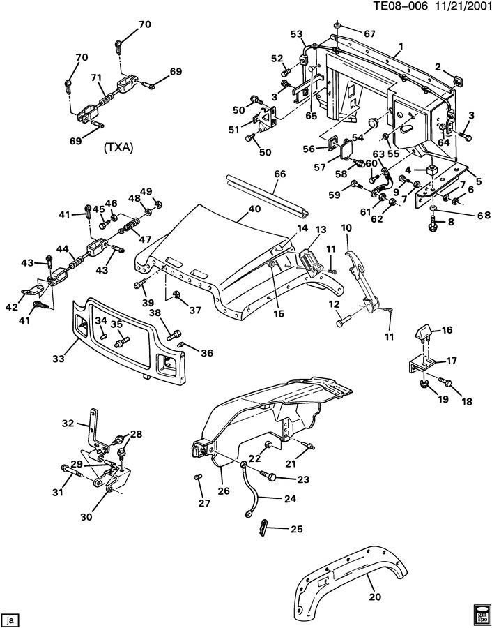 1993-2002 Lower Hood Latch Assembly Black Delivery Truck