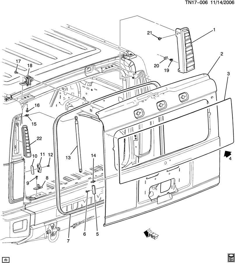 03 09 Hummer H2 Tailgate Liftgate Rear Hatch Weatherstrip