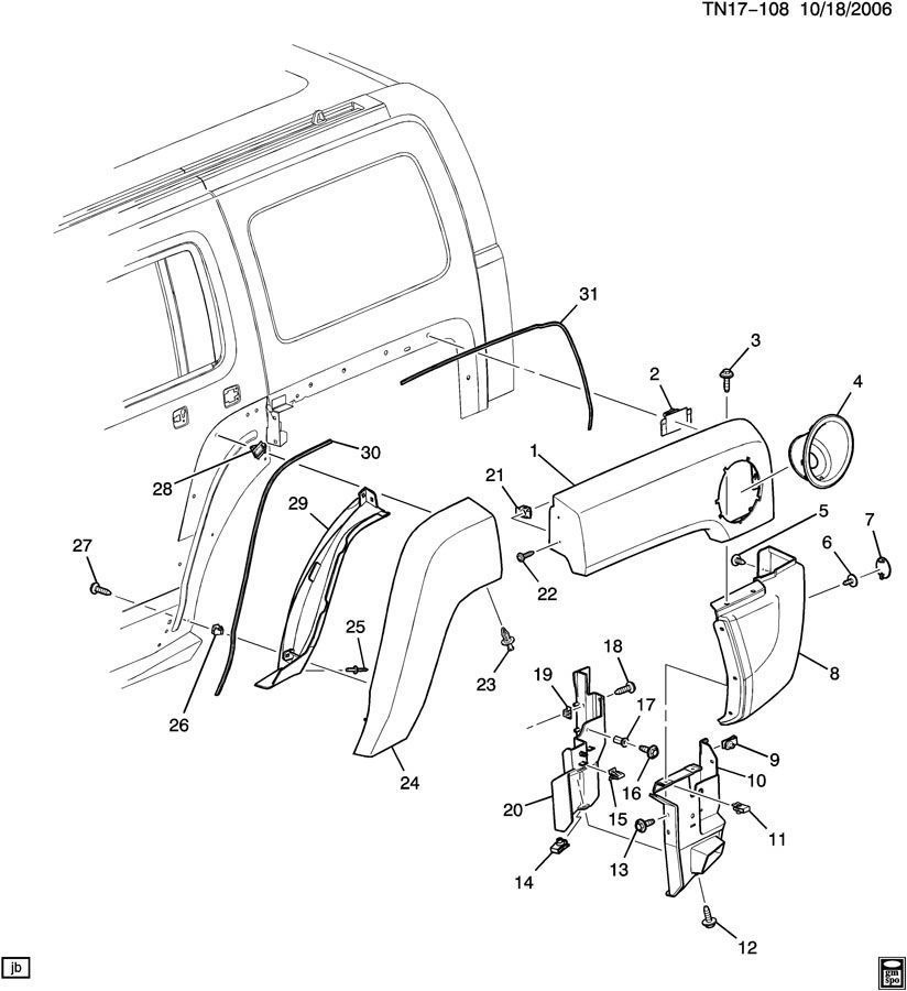 06-10 Hummer H3 Lh Rear Fender Body Molding Extension