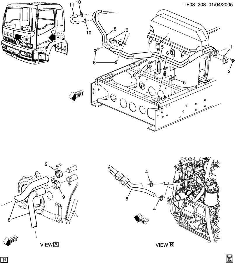 Heater Inlet & Outlet Hose 7.8-B Diesel LF8 Tilt Cab