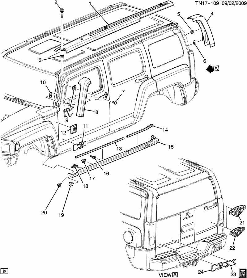 2006-2010 Hummer H3 LH Rear Upper Molding Trim Gray New
