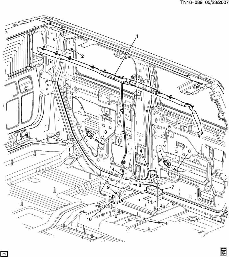 07-09 Hummer H2 Side Impact Air Bag AirBag Door Sensor