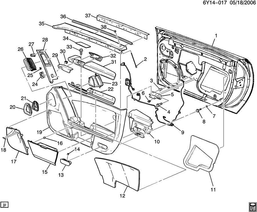 2009 Cadillac Xlr Door Panel Tan Rh Passenger Side