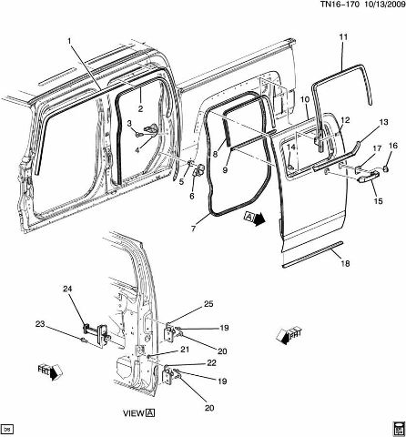 09-10 Hummer H3T Rear Door Body Weatherstrip 93355101