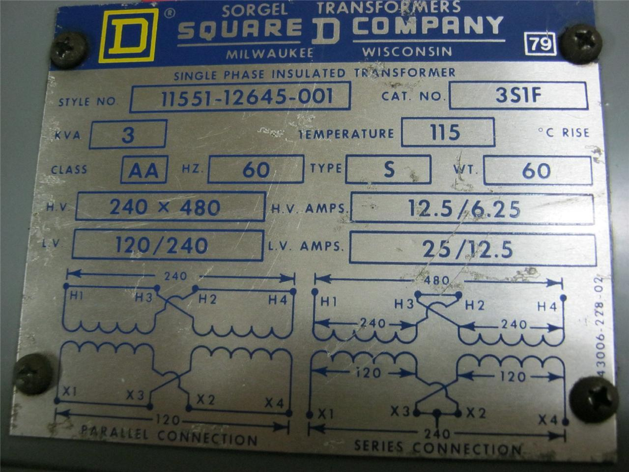 Square D 3 Kva Single Phase Insulated Transformer 351f