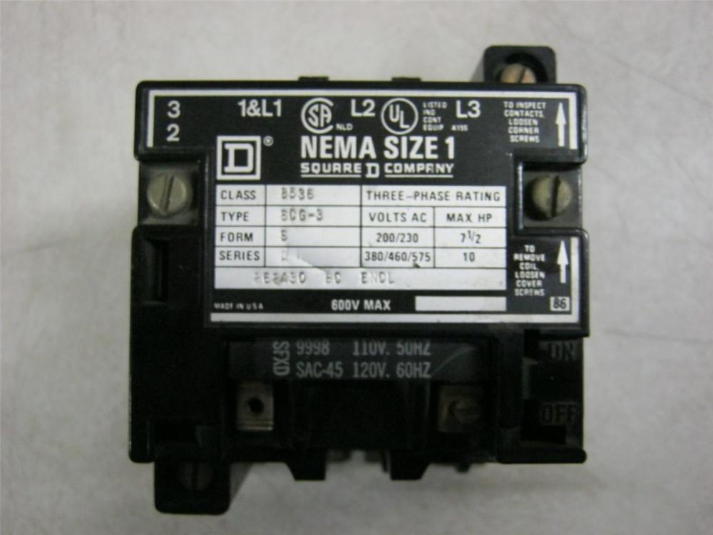 medium resolution of square d 8536scg3 600v motor starter size 1 daves