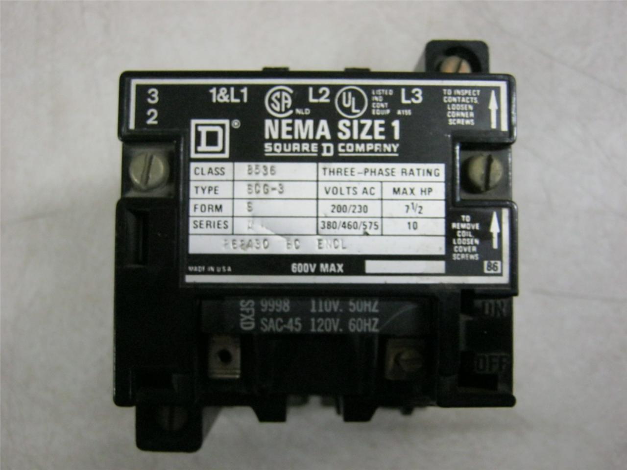 hight resolution of square d 8536scg3 600v motor starter size 1 daves