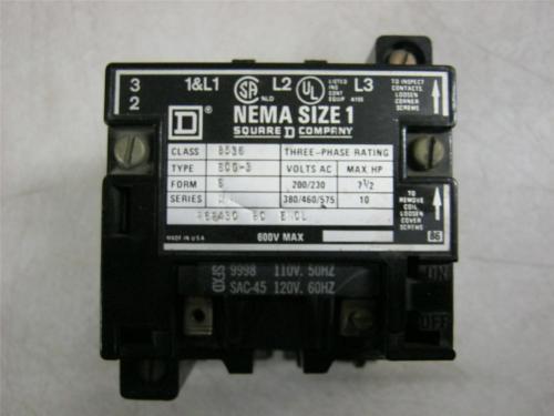 small resolution of square d 8536scg3 600v motor starter size 1 daves