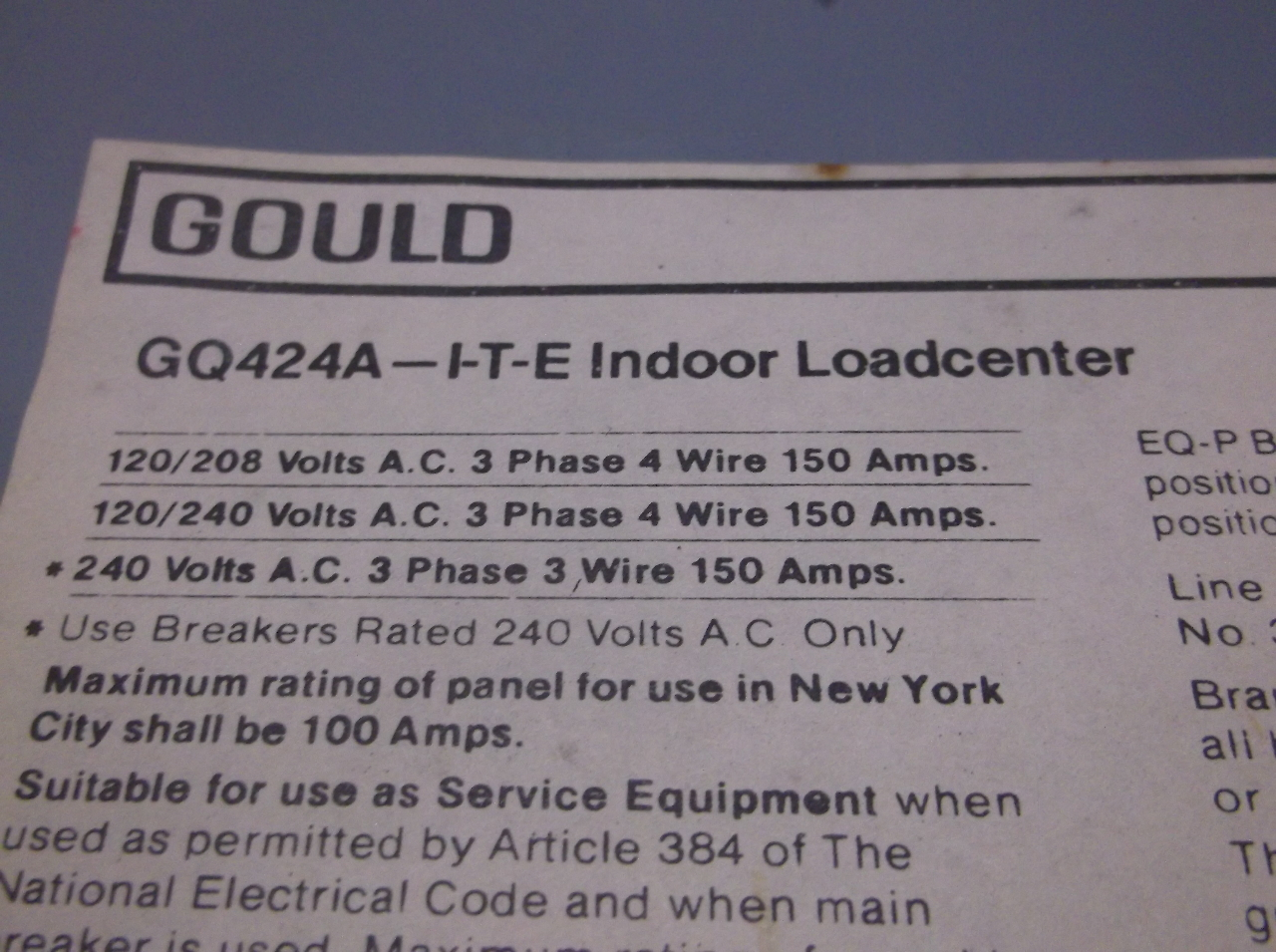 Gould GQ424A Indoor Load Center 120240 Volt 150 Amp