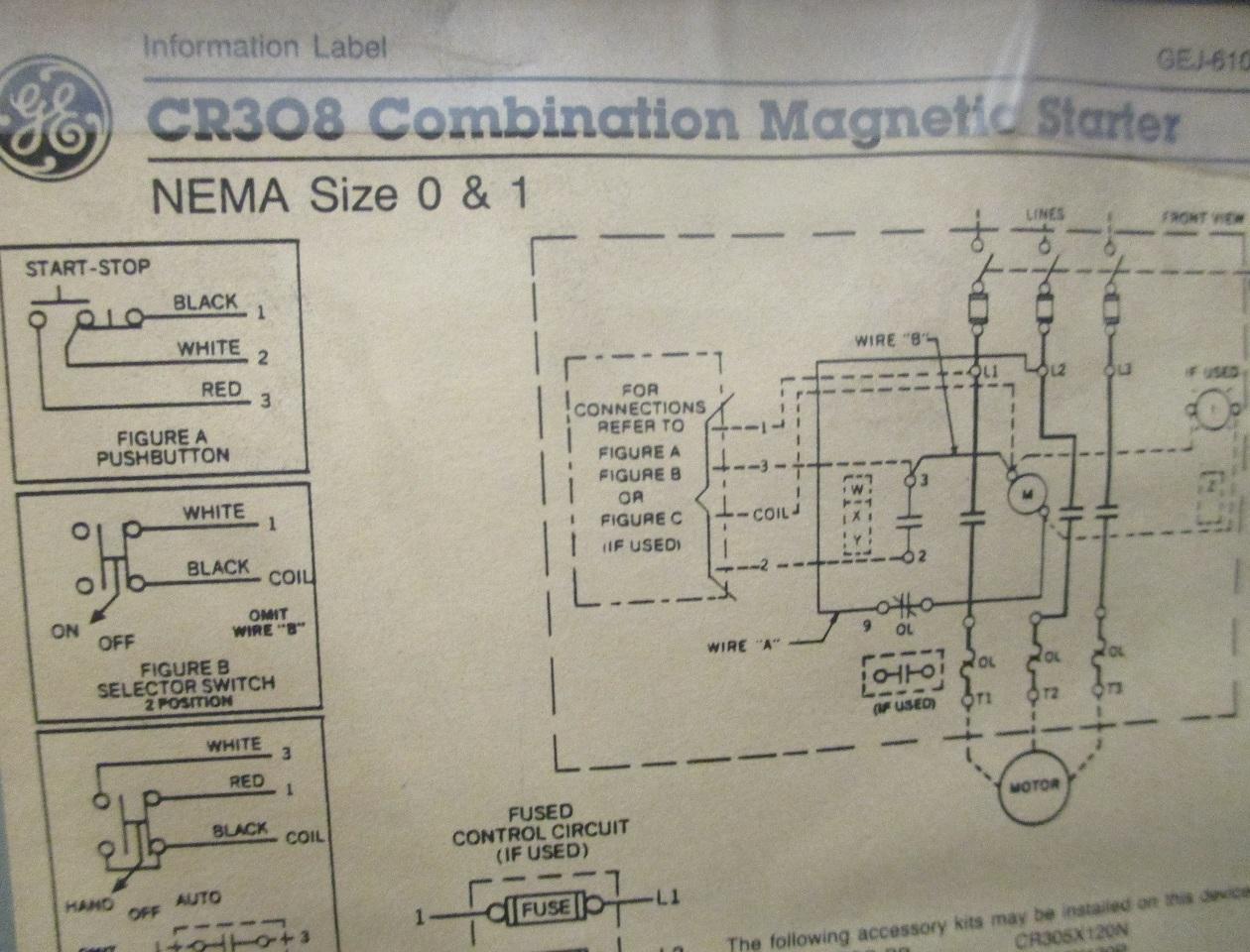 hight resolution of ge combination magnetic starter cr308 600v max complete enclosure 300 line control square d motor starter wiring diagram