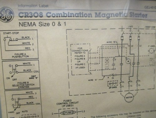 small resolution of ge combination magnetic starter cr308 600v max complete enclosure 300 line control square d motor starter wiring diagram