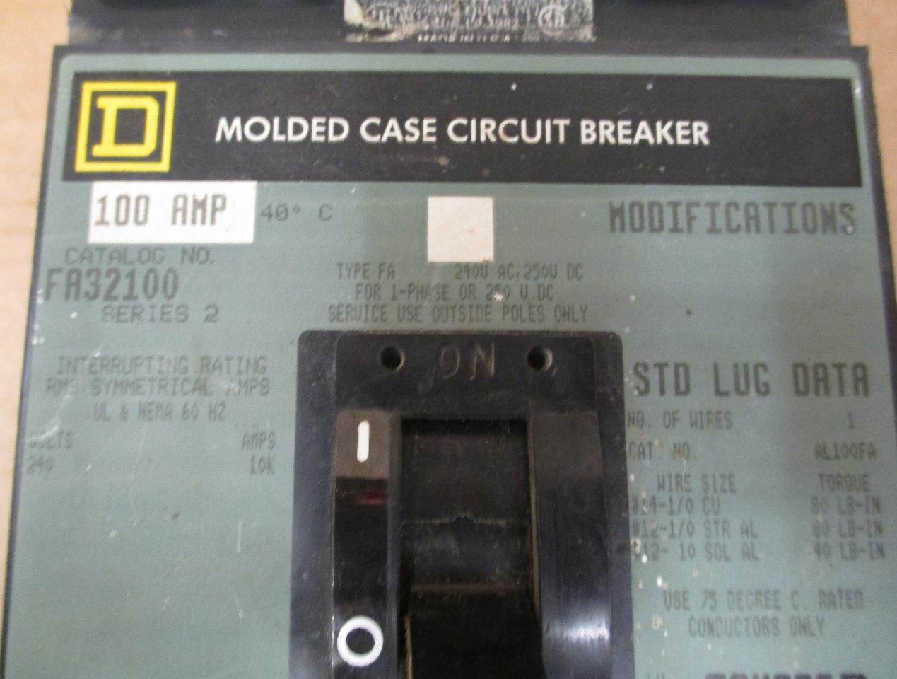 Details About Square D Fa32100 3 Pole 100 Amp Circuit Breaker Series 2
