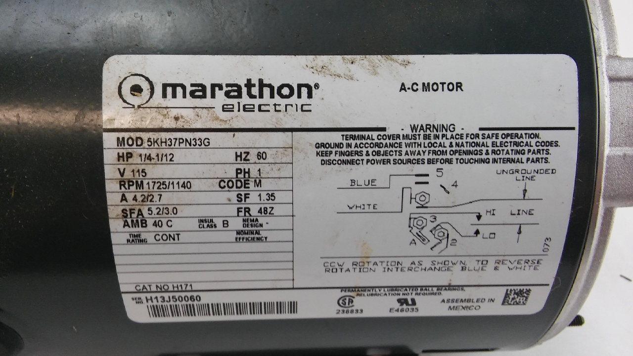 Dayton Motor Wiring Diagram On Wiring A 1 Hp Marathon Electric Motor