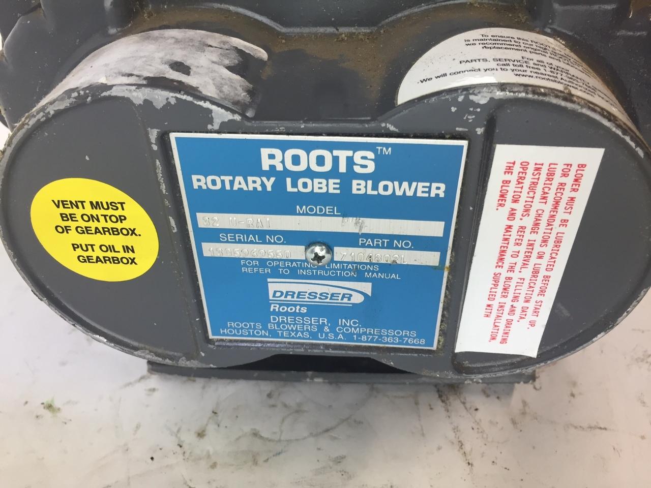 DRESSER ROOTS 7104802L ROTARY LOBE BLOWER 32 URAI S22F