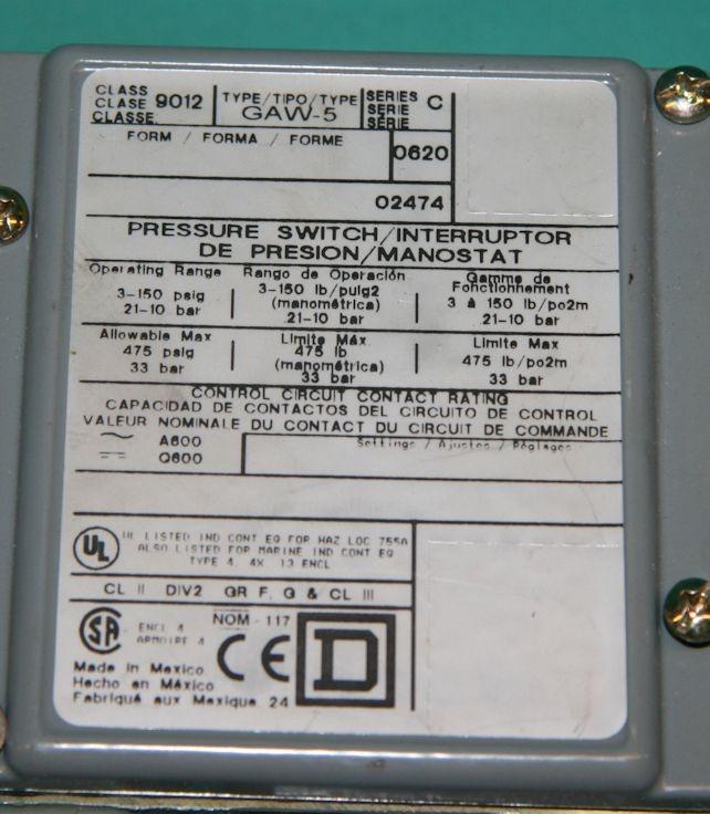 square d pumptrol pressure switch wiring diagram 3 wire dryer plug d, 9012 gaw-5, 9012gaw5, 150psi new