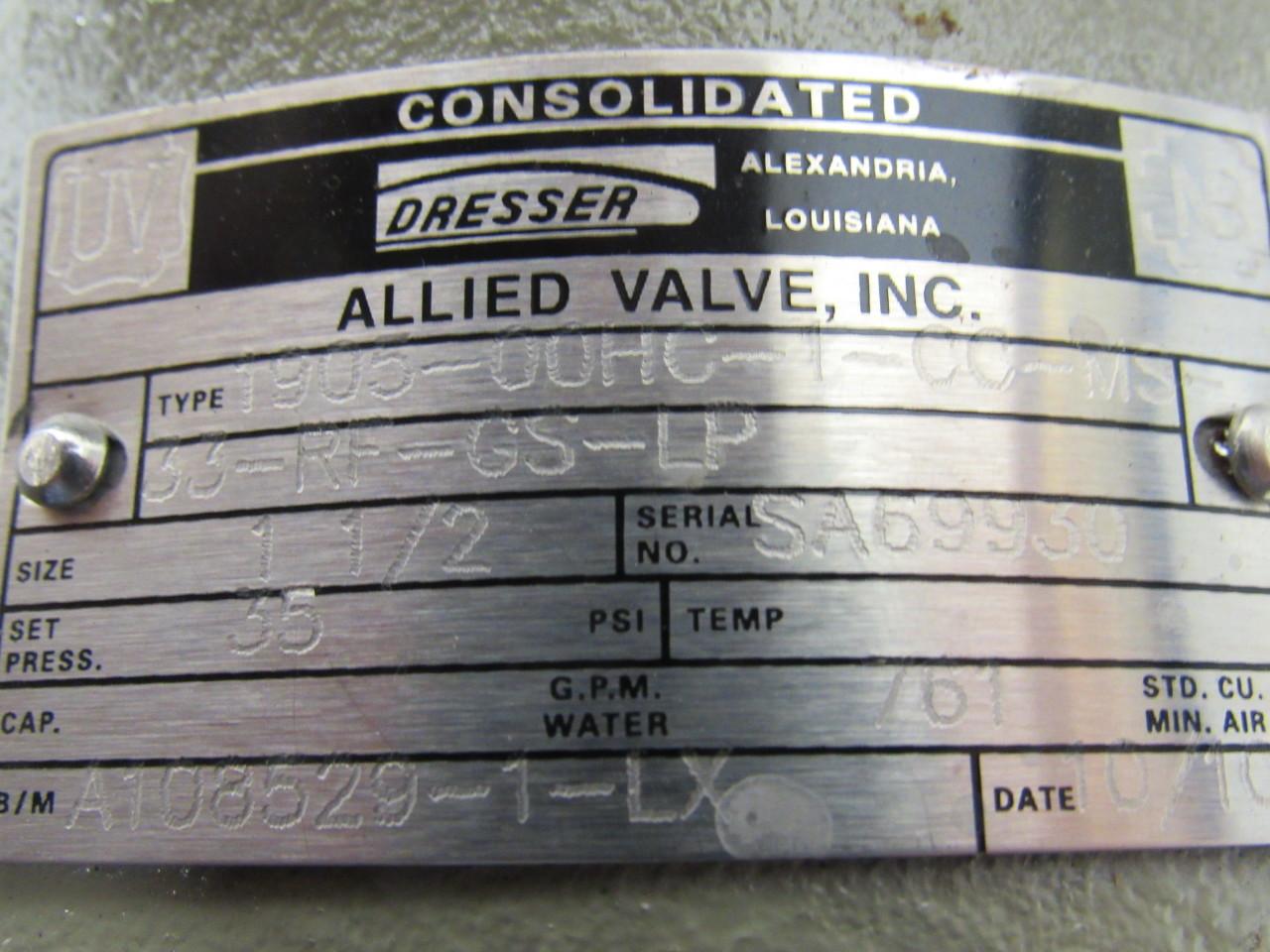 Consolidated Dresser 190500HC1CCMS33RFGSLP Pressure Relief Valve 112  eBay