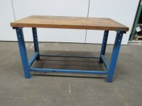 "53-1/2""X30"" Vintage Formed Steel & Butcher Block Workbench ..."