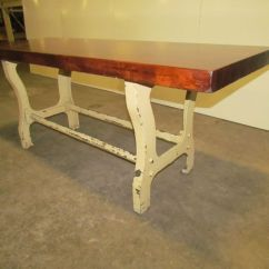 Wrought Iron Kitchen Table Red Cherry Cabinets Vintage Antique Industrial 3 Quot Butcher Block Dining