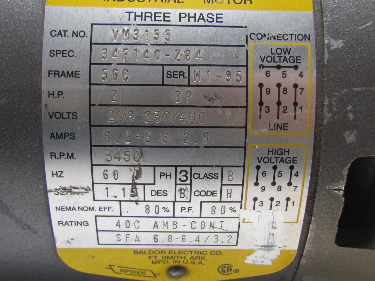 51768 baldor vm3155 34f140 284 3 phase ac electric motor 2hp 3450 rpm 208 230 460v 56c 10?resize=665%2C499 baldor motor 3 capacitor wiring diagram wiring diagram,Reliance Ac Motor Wiring Diagram