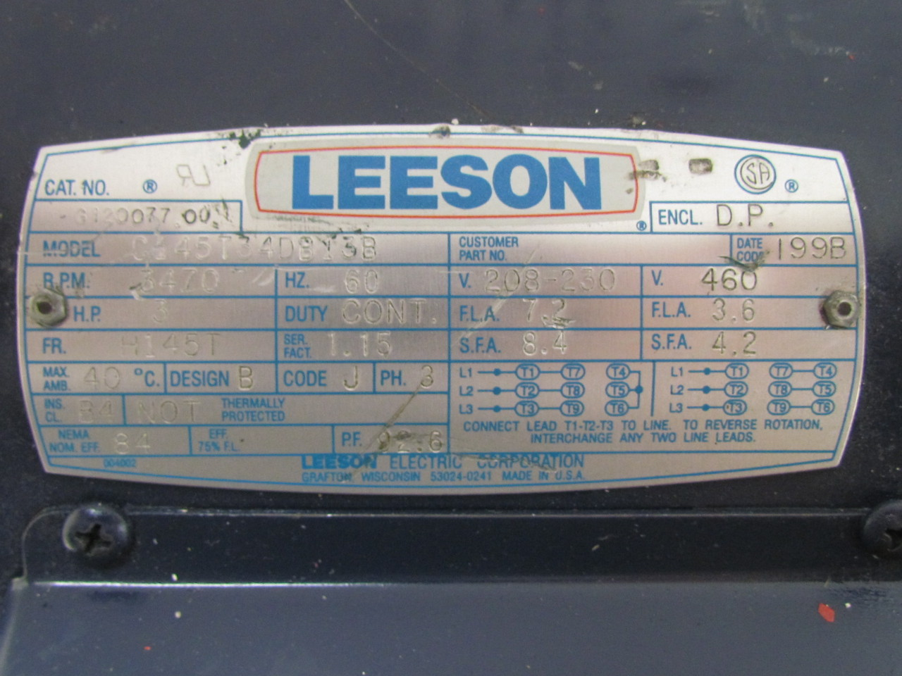 Stunning Leeson Motors Wiring Diagrams Contemporary - Everything You ...