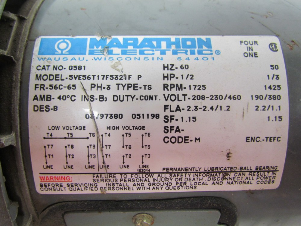 medium resolution of marathon electric g581 1 2 hp motor 3ph multivolt 1725rpm