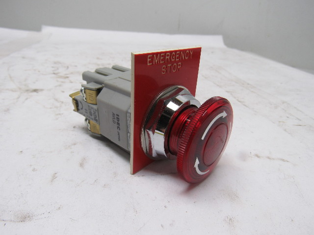 Idec Bst001 600v Maintained Contact Push Button E Stop