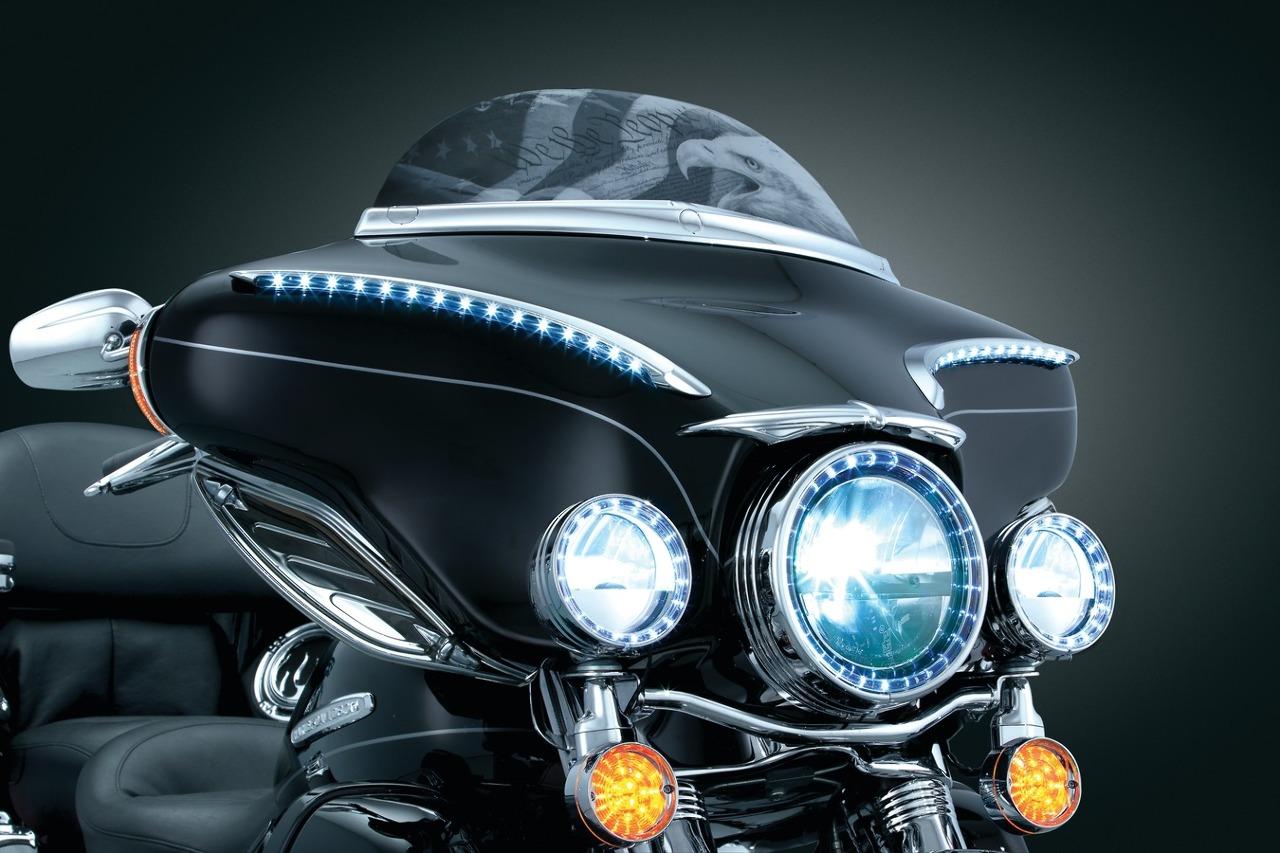 "Kuryakyn LED Halo 7"" Headlight Light Trim Ring Harley 84"