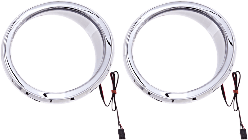 Ciro Chrome LED Lighted Motorcycle Speaker Trim Rings 14