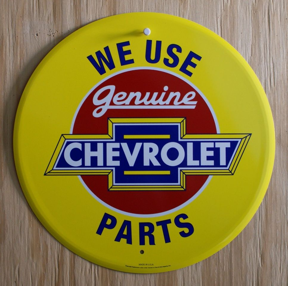 Genuine Chevrolet Parts Tin Metal Sign Chevy