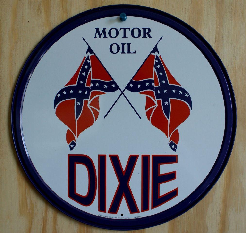 Dixie Motor Oil Round Tin Sign Garage Gasoline Rebel Flag