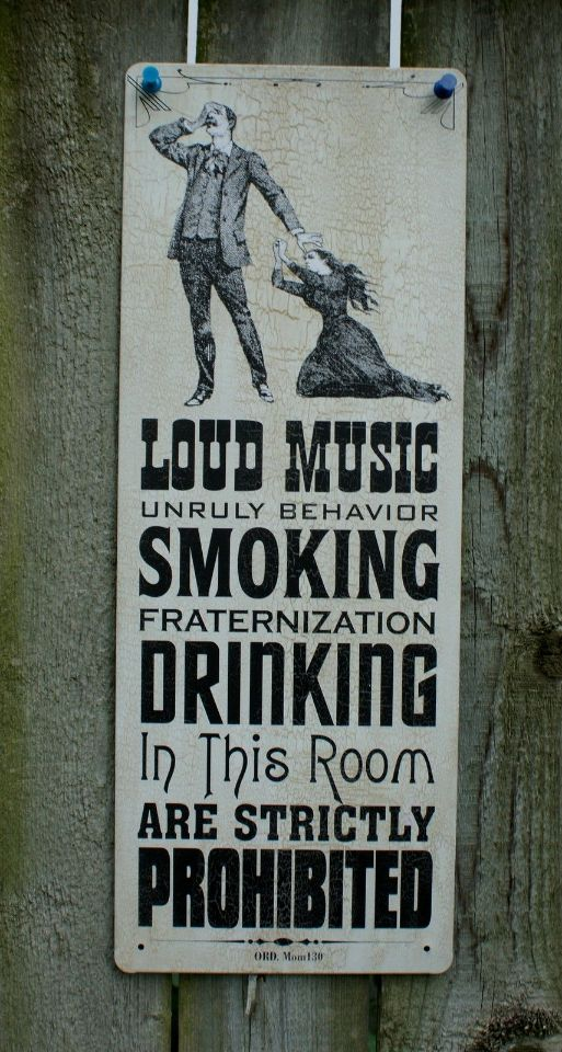 Loud Music Smoking Drinking Prohibited Tin Sign Bar Garage