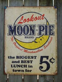 Lookout Moon Pie Ad Tin Sign Garage Vintage Style Home