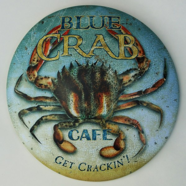 Blue Crab Cafe Crackin' Tin Metal Sign Seafood