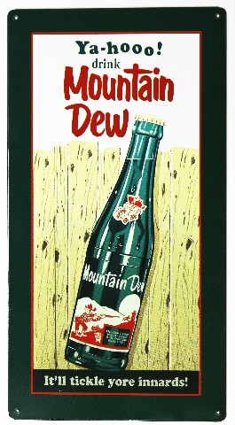 yahoo drink mountain dew metal sign soda cola pop coke pepsi hill billy classic logo