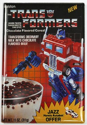 Transformers Cereal FRIDGE MAGNET Jazz Optimus Prime Robot