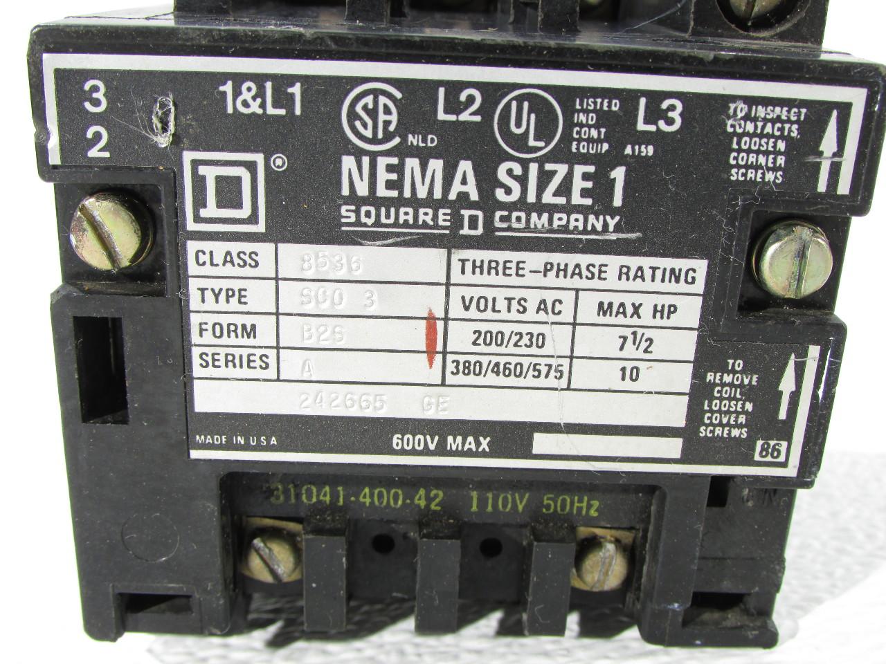 square d 8536 motor starter wiring diagram 2001 chevy tahoe ac nema size 1 premier