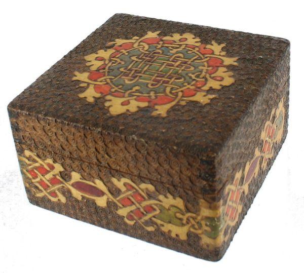 Antique Pyrography Pyroengraving Poker Work Box Celtic