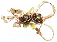 VINTAGE CORO STERLING ROSE GOLD RIBBON PIN & EARRINGS | eBay
