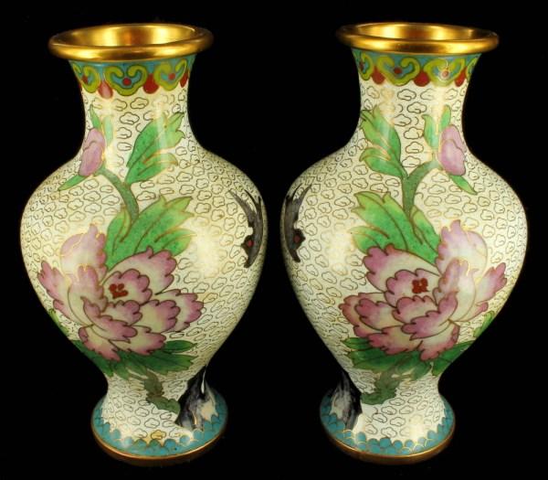Antique Chinese 1920' Cloisonne Vase Vases Pair Peones