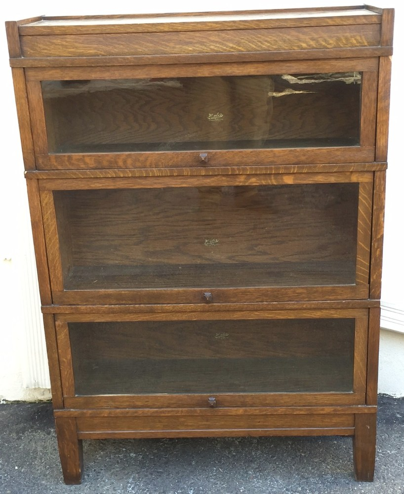 Antique Hales Herkimer Oak Barrister Bookcase Mission