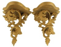 Antique Italian Art Nouveau Wooden Gilded Wall Sconce Pair
