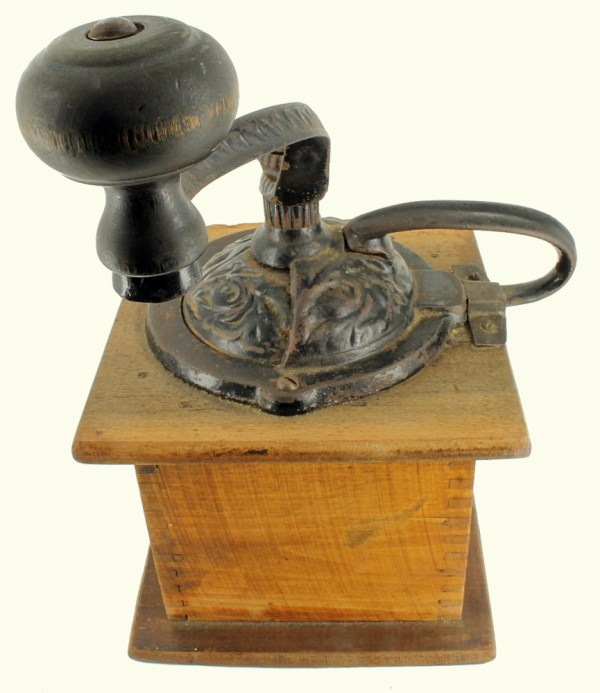 Antique Parkers National Coffee Mill Grinder Wooden Box