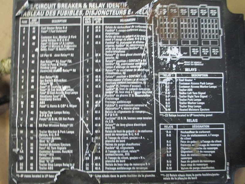 1999 Mack Ch613 Fuse Panel Diagram