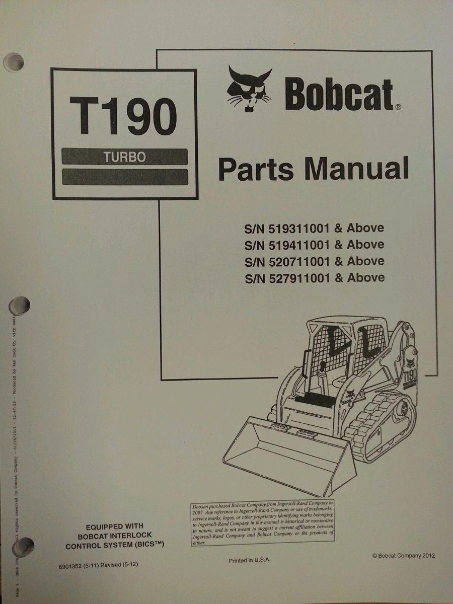 hight resolution of bobcat t190 track loader service repair workshop manual