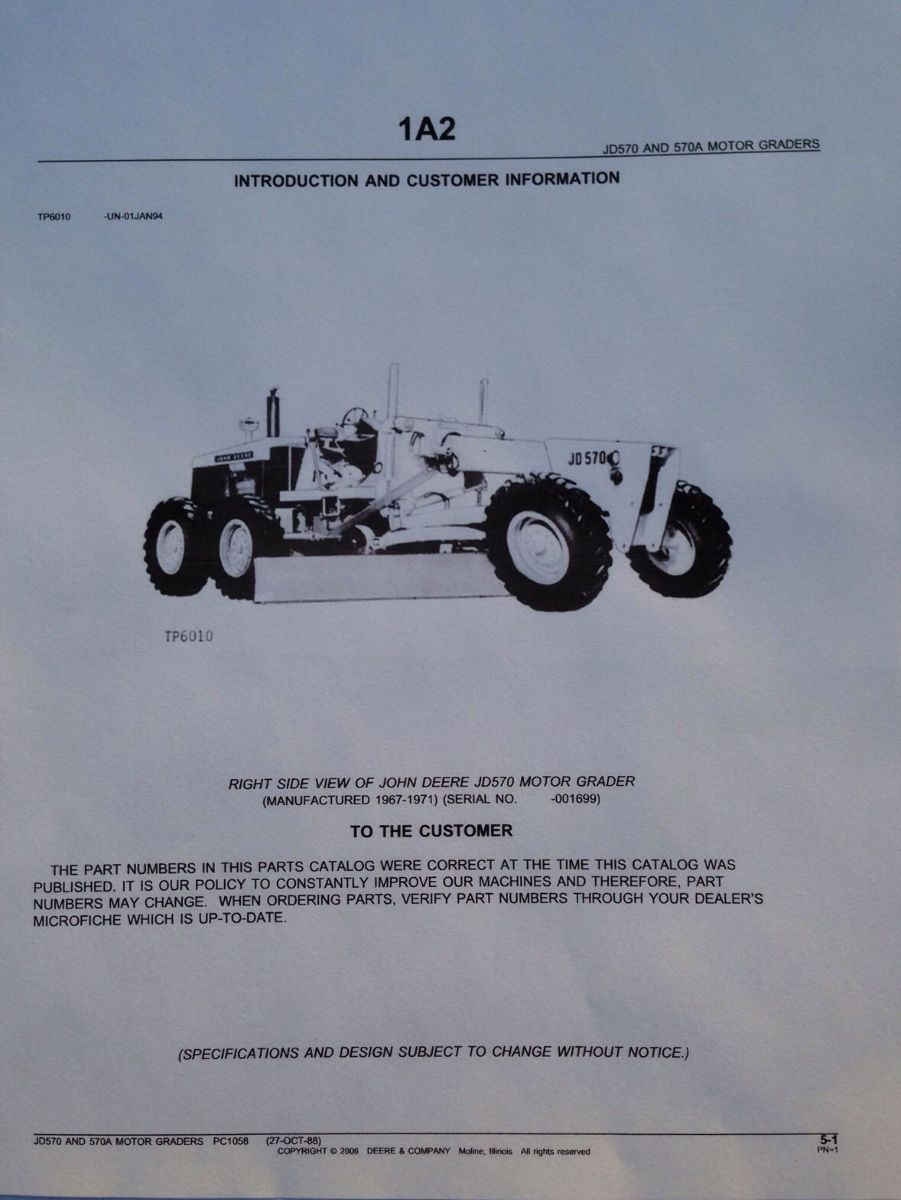 John Deere JD 570 570A Motor Grader Parts Manual Catalog