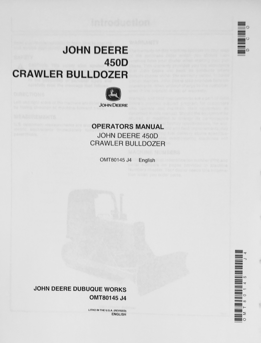 John Deere JD 450D Crawler Bulldozer Operator Operation