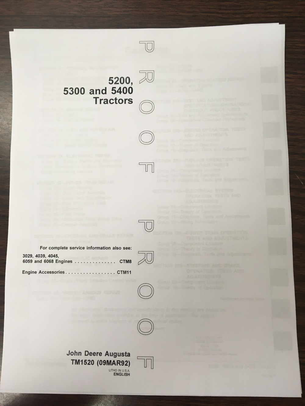 medium resolution of john deere 5200 5300 5400 tractors technical manual proof edition jd tm1520 book finney equipment and parts