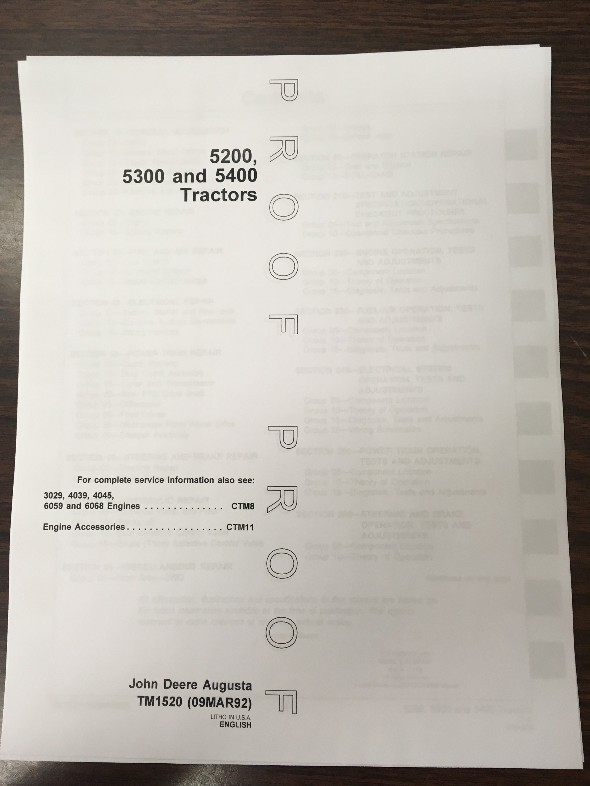 hight resolution of john deere 5200 5300 5400 tractors technical manual proof edition jd tm1520 book finney equipment and parts