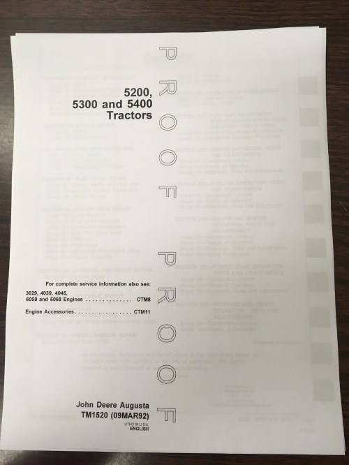 small resolution of john deere 5200 5300 5400 tractors technical manual proof edition jd tm1520 book finney equipment and parts