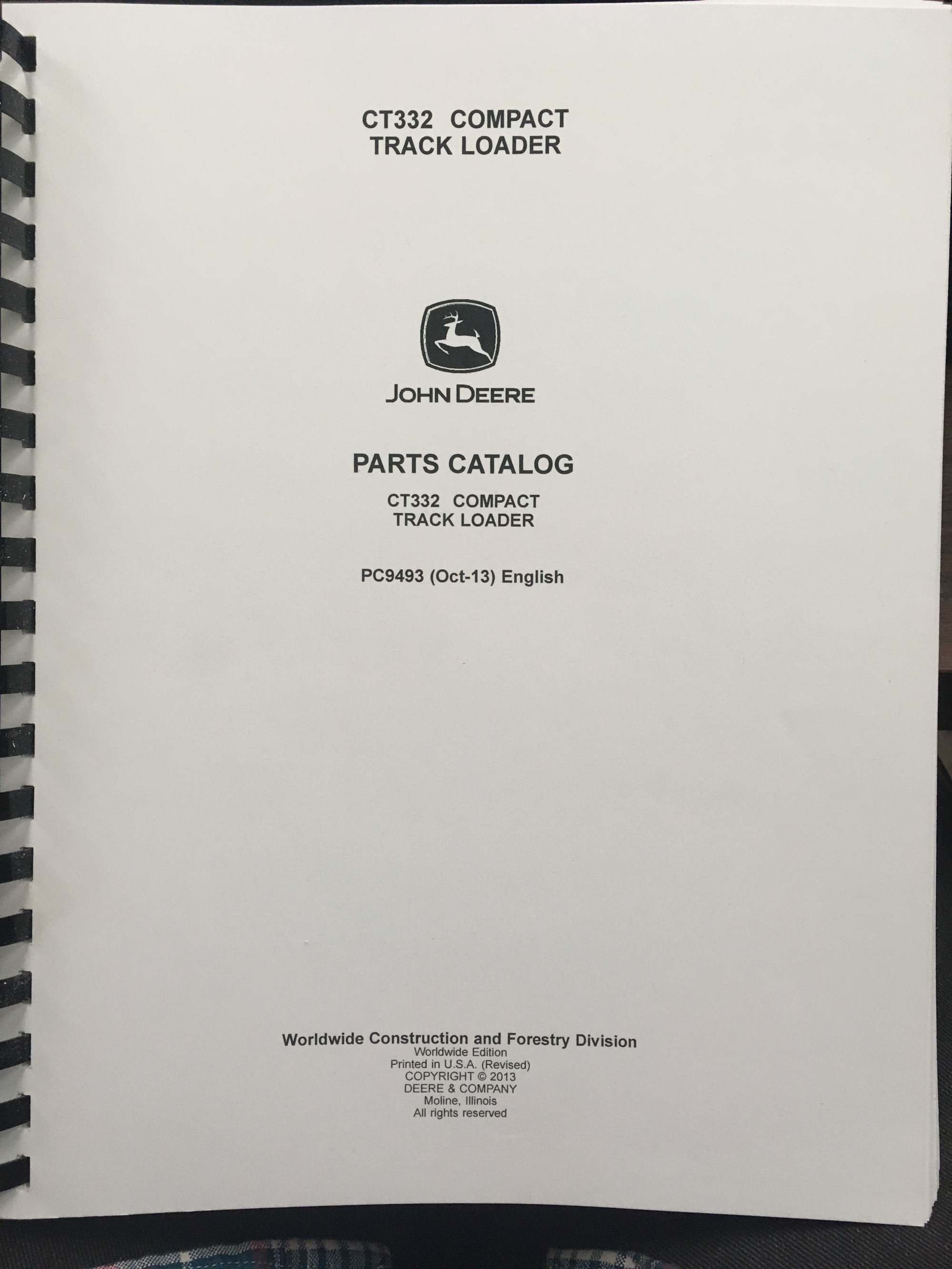 hight resolution of john deere ct332 compact track loader parts catalog jd pc9493 manual book